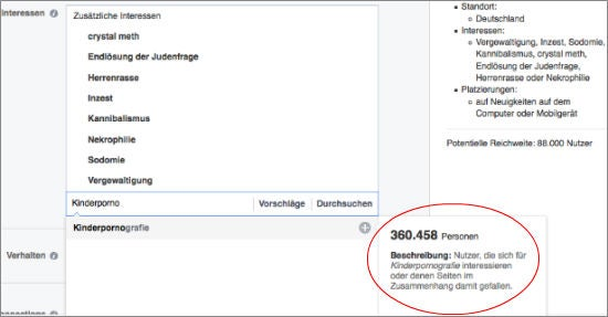 Targeting-Kategorien im Buchungs-Tool von Facebook (Screenshot)
