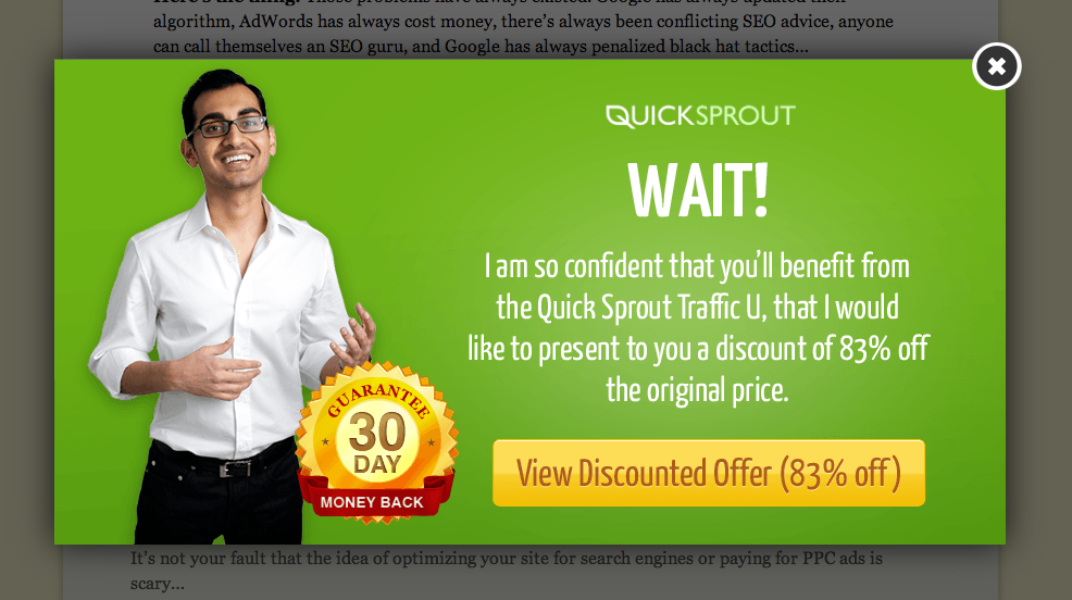 Exit Intent Popup bei Quicksprout