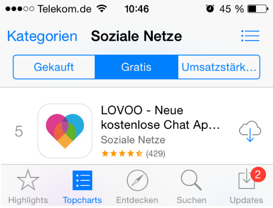 Screenshot von Apples App-Store