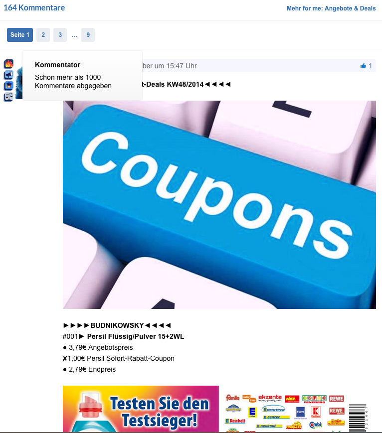 Screenshot MyDealz-Supermarktangebote