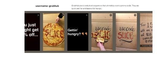 Der Lieferdienst GrubHub setzte Stories für eine clevere Promo-Aktion ein.