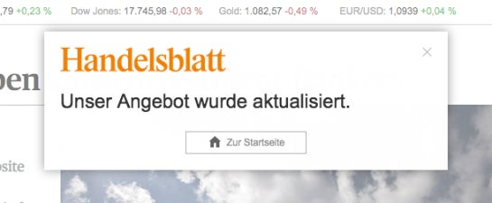 Pop-up auf Handelsblatt.de  (Screenshot: Konversionskraft )