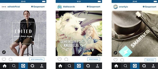 Screenshots von Instagram Ads