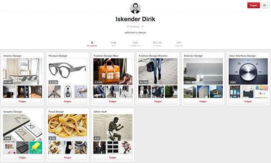 Pinterest-Profil von Iskender Dirik
