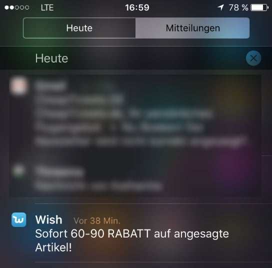 Ein Screenshot einer Push Notification von Wish