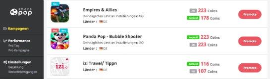 Angebotene Sharepop-Kampagnen: Durchschnittlich zwei Euro gibt es für einen Install.