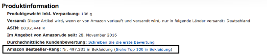 Amazon Besteller Rank
