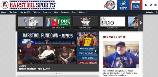Barstool Sports Webseite