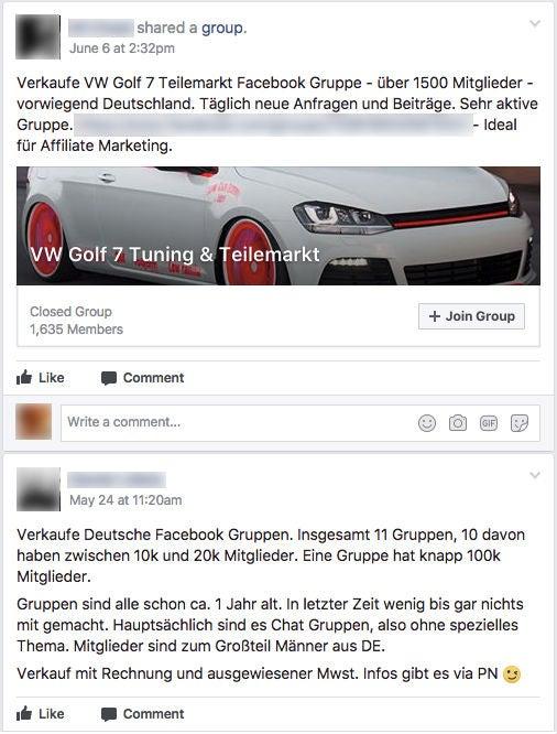Facebook Verkaufsgruppen