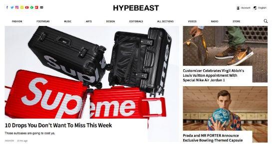 Hypebeast-Webseite