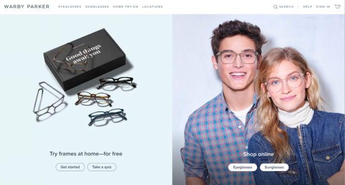 Warby Parker Webseite