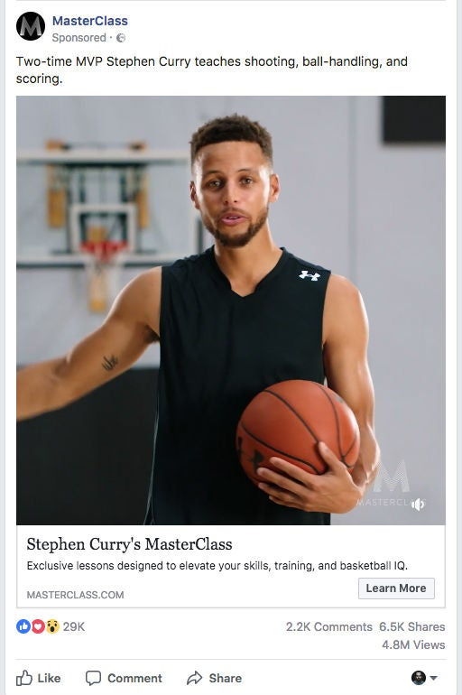 Masterclass.com NBA Stephen Curry OMR Facebook Ad