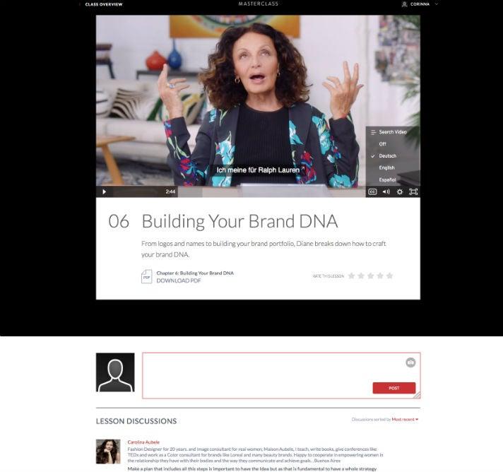 Screenshot Masterclass.com Diane von Furstenberg OMR