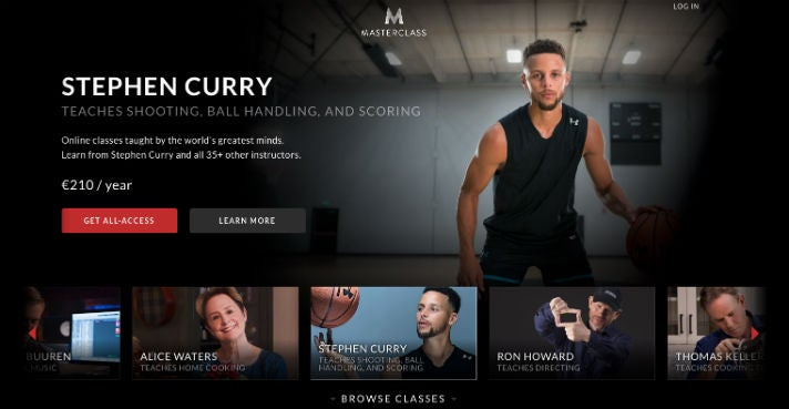 Stephen Curry Masterclass.com Website OMR NBA