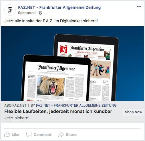 FAZ Frankfurter Allgemeine Zeitung Facebook Ads Werbung OMR