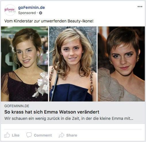 Gofeminin Facebook Ad Werbeanzeige OMR