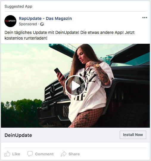 RapUpdate Facebook App Install Ads Werbung Video OMR