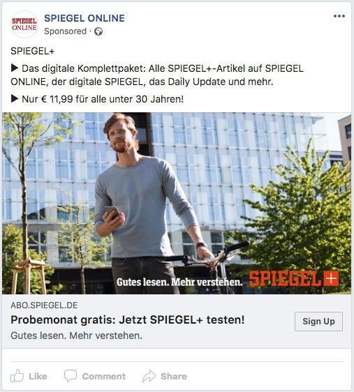 Spiegel Online Facebook Ads Werbeanzeigen Plus OMR