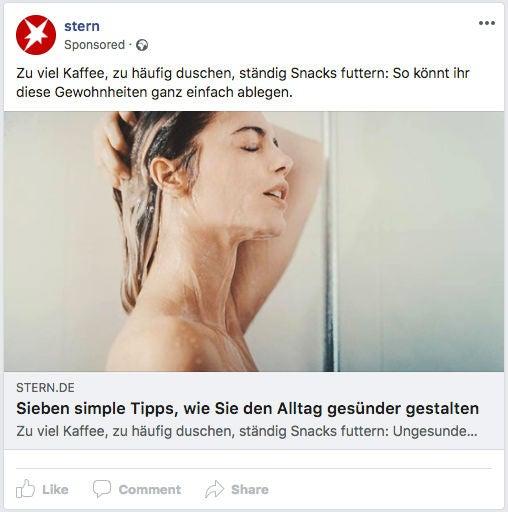 Stern Facebook Ad Werbemittel JWD Joko OMR