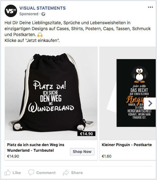 Visual Statements Facebook Ad Werbeanzeige OMR