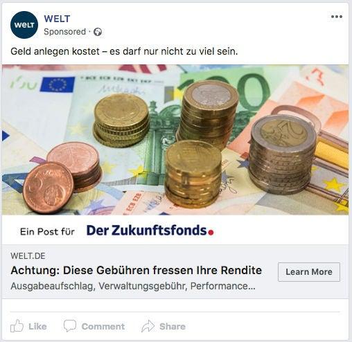 Welt Online Facebook Ad Werbeanzeige OMR Zukunftsfond Zaster