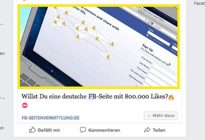 Facebook Ad Seiten-Verkauf