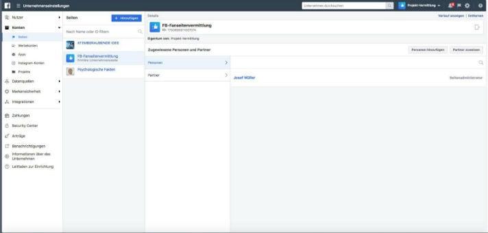 Admin Facebook-Seiten-Verkauf