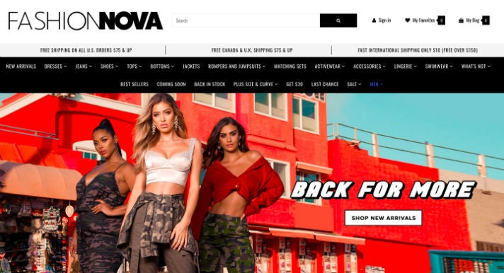 Fashion Nova Webseite
