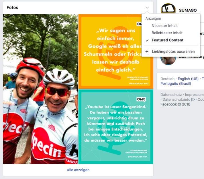 Fotos Facebook-Seite
