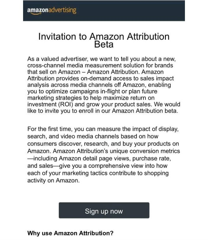 Amazon Attribution Beta Invitation OMR