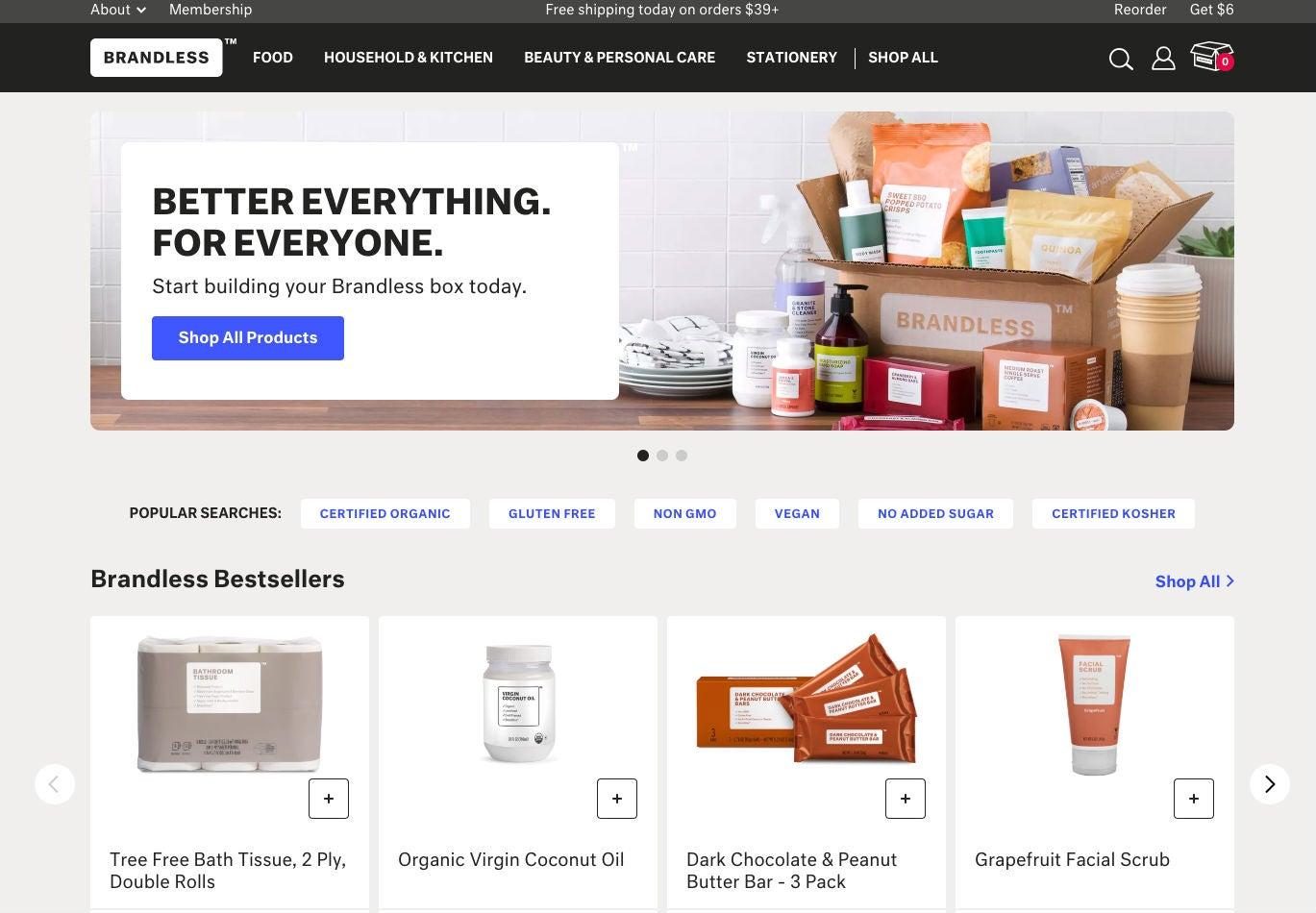 Brandless Homepage Startseite OMR