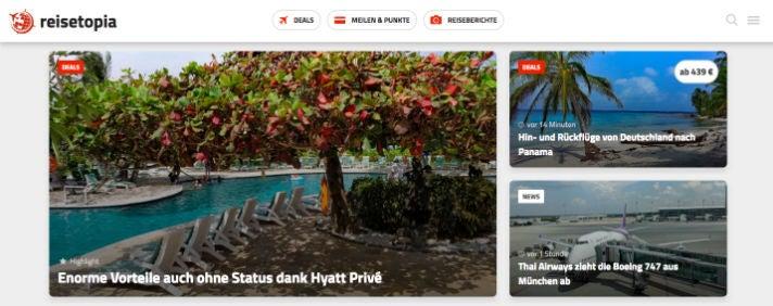 Reisetopia Webseite