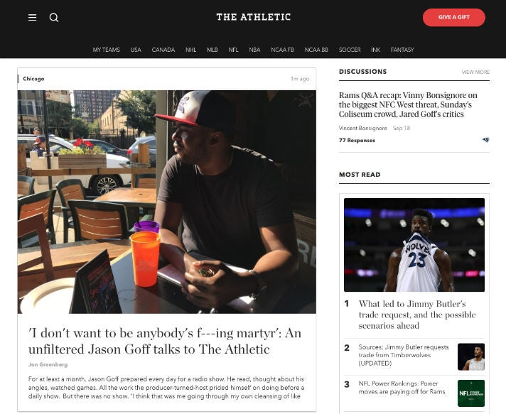 The Athletic Paid Content US Sports Publisher Homepage OMR