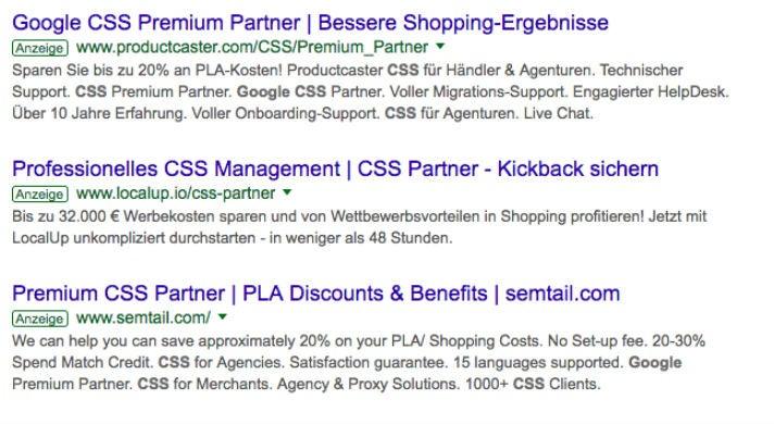 Agenturen CSS Google Shopping