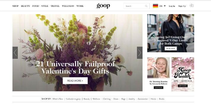 Goop-Webseite