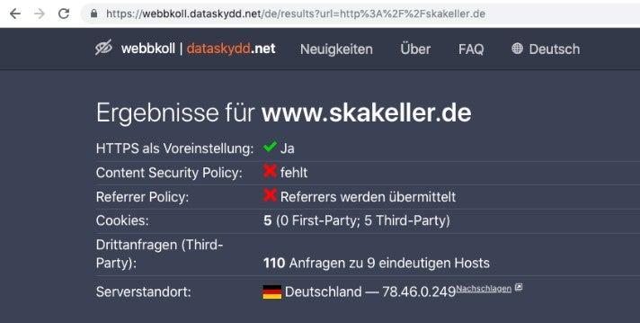 Webbkoll skakeller.de Analyse DSGVO OMR