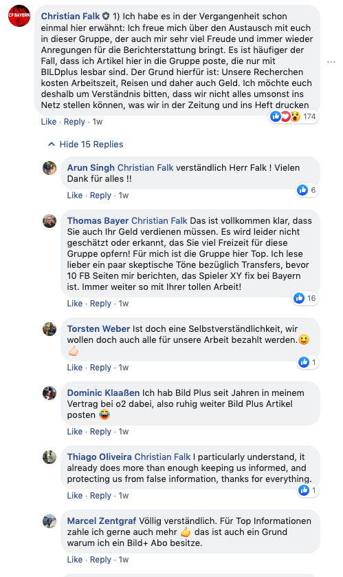 Bild Facebook Sport Gruppen Bayern Insider Paid Content Falk OMR