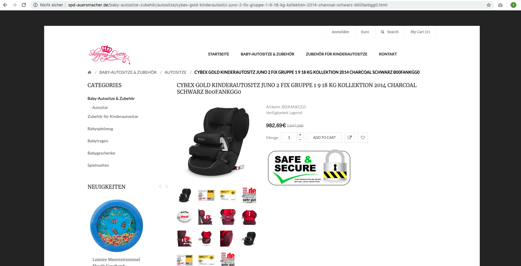 Expired Domains Fake Shops Fraud SPD Auersmacher Produktdetailseite