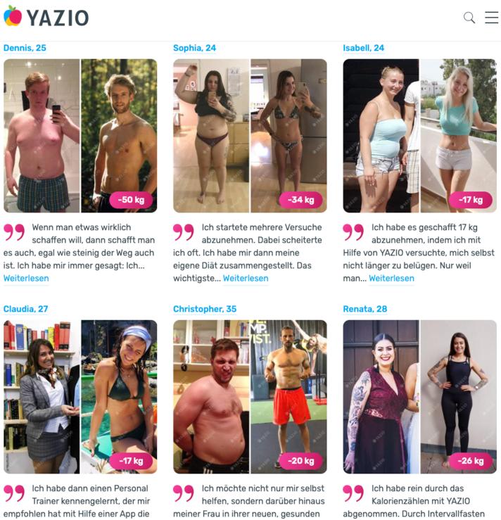 User erzählen auf yazio.com  ihre Erfolgsgeschichten