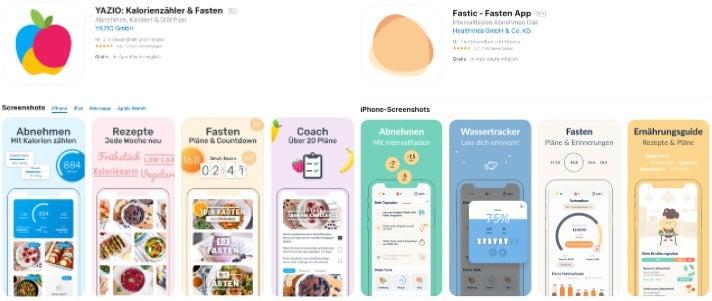 Die Auftritte von Yazio und Fastic in Apples App-Store