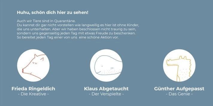 Die Quarantäne-Kids-Helden: Schwein Frida Ringeldich, Wal Klaus Abgetaucht und Krokodil Günther Aufgepasst