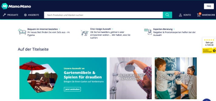 Die Startseite von ManoMano in Deutschland