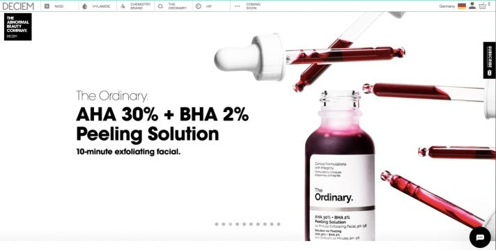 Deciem-Webseite Screenshot