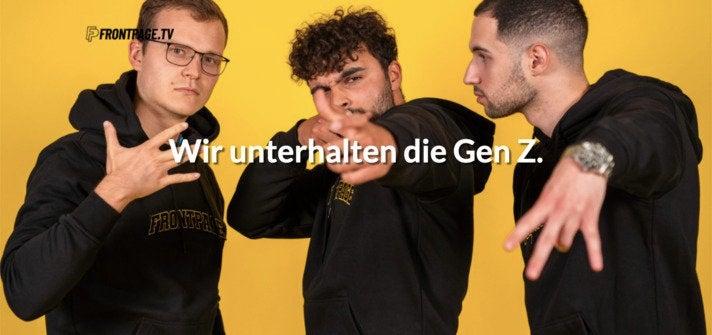 Klare Ansage: Frontpage.tv-Mitgründer Sven Oechler (l.) mit Younes Zarou (M.), dem aktuell Follower-stärksten Creator aus Deutschland