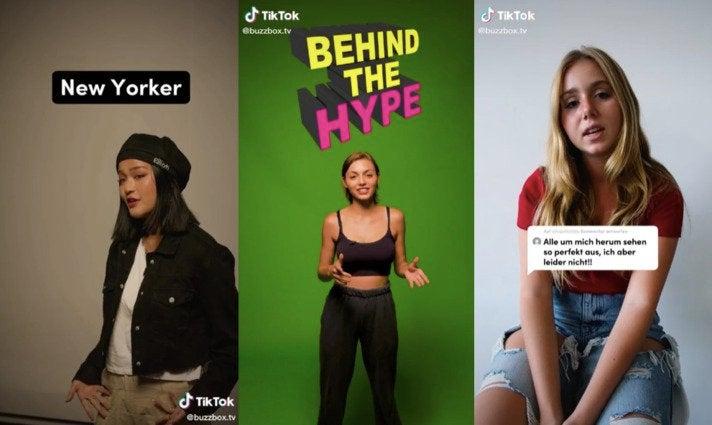 """Auf dem Kanal Buzzbox probiert Truemates gerade aus, wie gut sich Infotainment-Formate über Tiktok spielen lassen: Creator erklären ihren Style (""""Style Update"""" oder Phänomene auf der Plattform (""""Behind the Hype"""") und geben Lebenshilfe (v.l.)"""