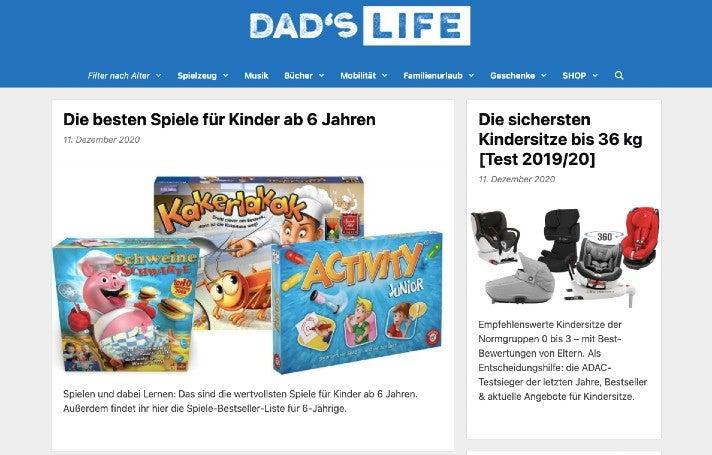 Die Webseite von Dad's Life