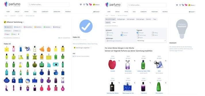 Bei Parfumo können Nutzer Sammlungen ihrer Düfte anlegen und sich von einem Assistenten vorschlagen lassen, welcher ihrer Düfte zu Jahres- und Tageszeit passt