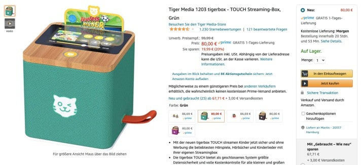 tigerbox touch bei Amazon