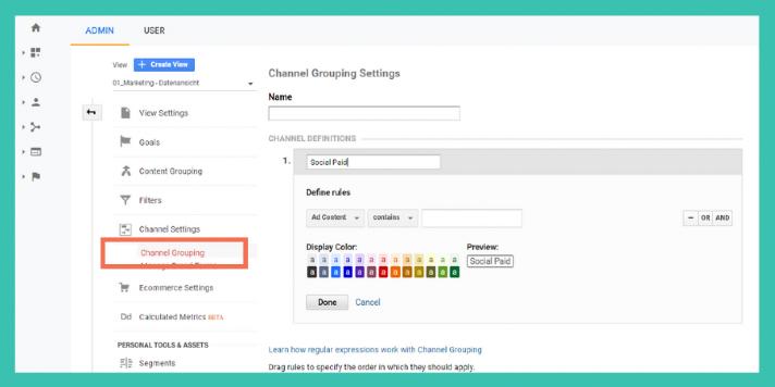 Custom Channel Grouping in Google Analytics anlegen