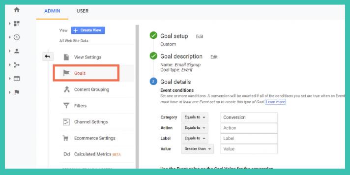 Zielvorhaben oder Goals in Google Analytics